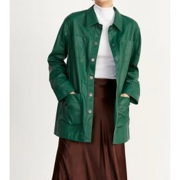 Womens Green Leather Winter Jacket Outfit