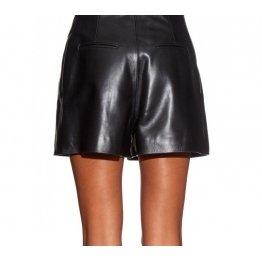 Womens High Waisted Black Spaghetti Strap Leather Shorts