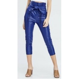 Womens High Waisted Blue Paper Bag Belted Genuine Leather Capri Pants