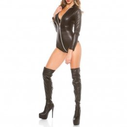 Womens Long Sleeve Zipper Black Leather Bodycon Romper