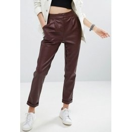 Womens Loose Fit Straight Leg Burgundy Leather Trouser Pants