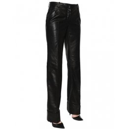 Womens Real Long Straight Leg Black Leather Pants