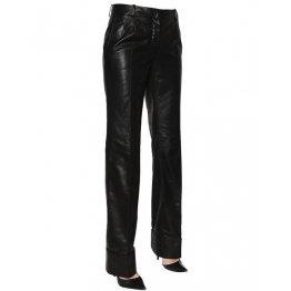 Womens Real Long Straight Leg Black Leather Pants