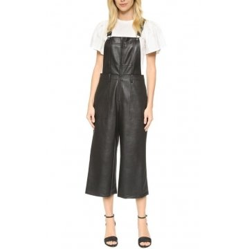 Womens Street Fashion Natural Black Leather overall Jumpsuit