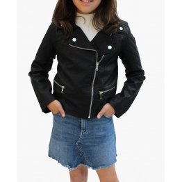 Adorable Quilted Black Leather Kids Jacket