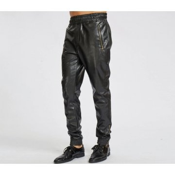Ankle Zippers Pure Black Leather Joggings Trousers Pants For Male
