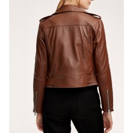 Authentic Custom Branded Brown Leather Biker Jacket for Women