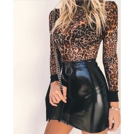 Autumn Vintage Women Streetwear Black Leather Skirt