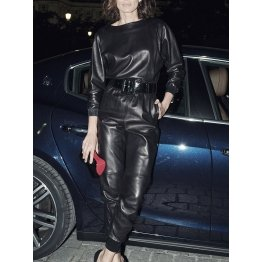 Belted Fashion Real Black Leather Jumpsuit Overall for Women