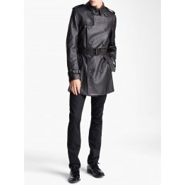 Belted Fashion Soft Lambskin Black Leather Trench Coat for Men