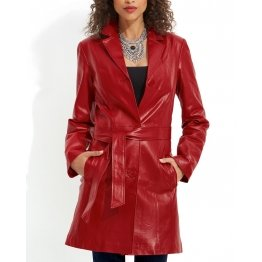 Belted Quality Genuine Red Leather Coat for Women