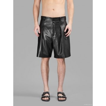Bermuda Style Black Leather Mens Shorts for Winter