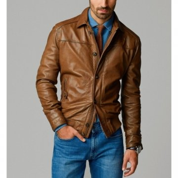 Best Quality Smooth Zip Closer Two Tone Brown Leather Bomber Jacket for Men
