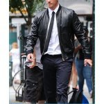 How to wear black leather blazer with a shirt and tie?