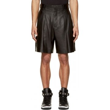 Black Leather Pleated Shorts for Men