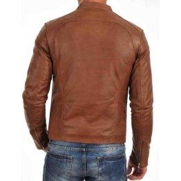 Branded Light Brown Leather Jacket Mens