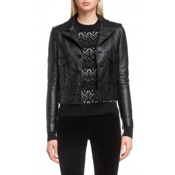 Button Front Soft Lambskin Black Leather Motorcycle Biker Jacket for women