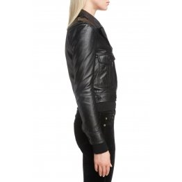 Button Front Soft Lambskin Black Leather Bomber Jacket for women