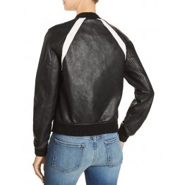 Casual Baseball Collar Black Leather Bomber Jacket for Women