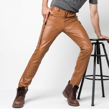 Casual Fashion Genuine Brown Leather Motorcycle Pants for Mens
