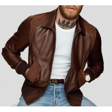 Celebrity Style Pure Brown Leather Bomber Jacket for Men