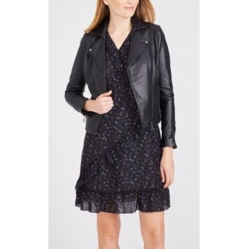 Classic Buttery Black Leather Moto Jacket for Ladies
