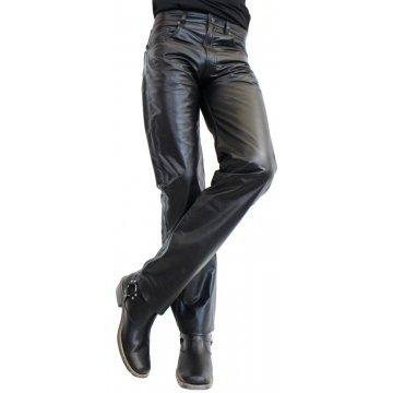 Classic Fashion Genuine Soft Black Leather Pants for Men