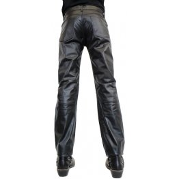 Classic Fashion Genuine Soft Black Leather Pants for Men