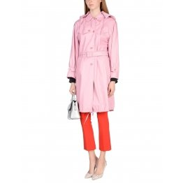 Classic Neckline Button Closing Baby Pink Leather Trench Coat for Women