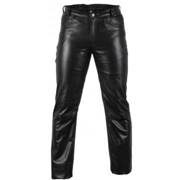 Classic Pure Black Leather Motorcycle Pants for Men