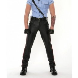 Classic Rise Waist Black Leather Pants for Men