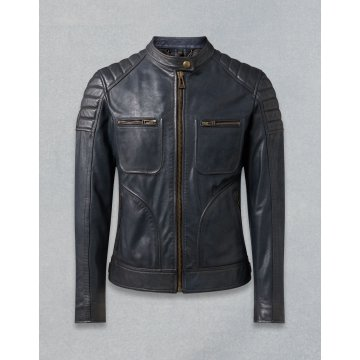 Contemporary Design Quilted Deep Navy Leather Moto Jacket for Men