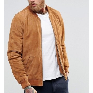 Custom Fit Suede Brown Leather Bomber Flight Jacket for Men