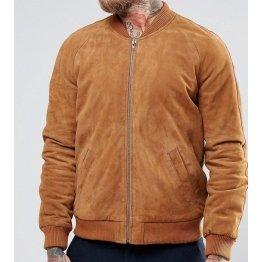 Custom Fit Suede Brown Leather Bomber Flight Jacket for Men