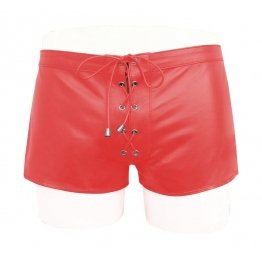 Custom Made Lace Up Style Red Leather Shorts for Men