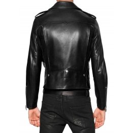 Custom Made Soft Lambskin Men Motorcycle Black Leather Jacket