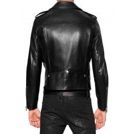Custom Made Soft Lambskin Men Motorcycle Black Leather Jacket