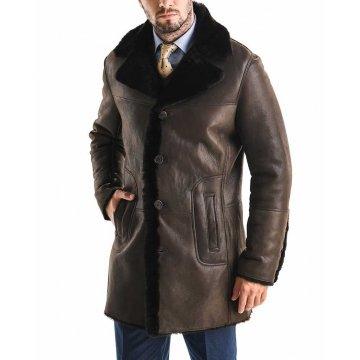 Deep Fur Collar Brown Leather Winter Coat for Men