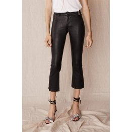 Designer Black Stretch Leather Leggings Flare Pant for Ladies