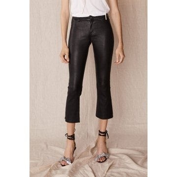 Designer Black Stretch Leather Leggings Flare Pant for Ladies