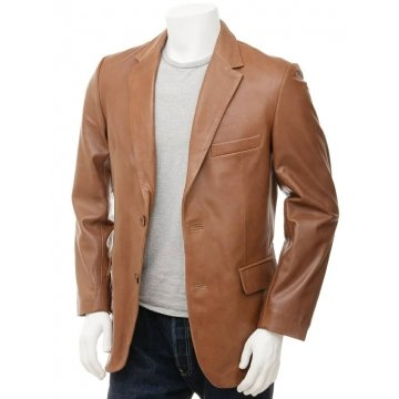 Designer Two Button Closure Soft Lambskin Brown Leather Blazer for Men