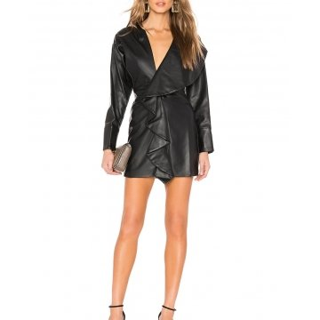 Draped Skirt Detail Black Leather Mini Dress for Women