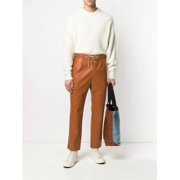 Drawstring Waist Tan Leather Trousers Pant for Men