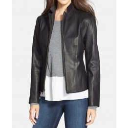 Elegant Black Leather Jacket For Women
