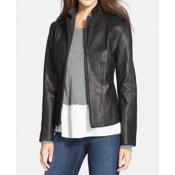 Elegant Black Leather Jacket For Women
