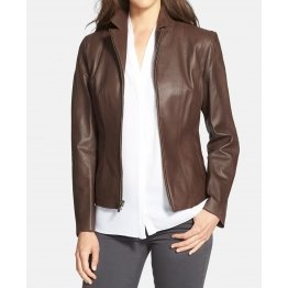 Elegant Brown Leather Jacket For Women