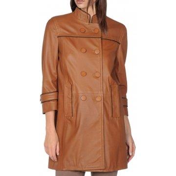 Elegant Look Double Breasted Brown Leather Coat for Women