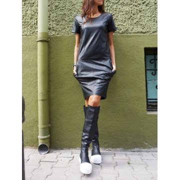 Elegant Short Sleeves Black Real Leather Mini Short Party Dress