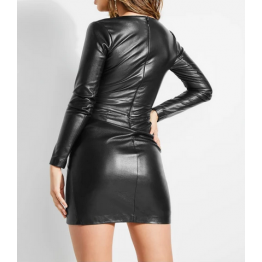 Embellished Button Detail Long Sleeves Black Leather Dress for Women