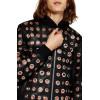 Eyelet Classic Pop Holes Black Leather Bomber Jacket for Men